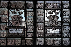 Medieval stained glass in Swiss National museum Royalty Free Stock Photo