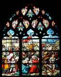 Medieval stained glass window Stock Images