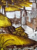 Medieval stained glass window Landscape Stock Images