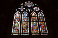 Stained glass window of the Strasbourg Cathedral in France Stock Photos