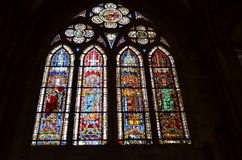 Stained glass window of the Strasbourg Cathedral in France Stock Photography