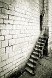 Medieval staircase. Dramatic monochrome image of a medieval staircase Stock Photo