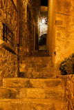 Medieval Staircase at Night in Tossa de Mar Royalty Free Stock Images