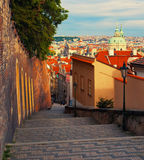Medieval staircase in Prague Stock Photos