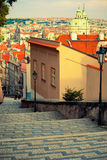 Medieval staircase in Prague Royalty Free Stock Images