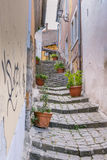 Medieval staircase in  streets  of Szentendre in Hungary Stock Photography