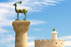 Medieval statue of deer in Rhodes. Medieval statue of deer - symbol of Rhodes (Greece stock photo