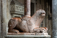 Medieval statue of a lion, Cremona, Italy Royalty Free Stock Photography