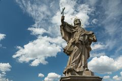 Medieval statue of a saint on the old Main bridge Royalty Free Stock Images