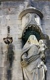 Medieval statue on wall Royalty Free Stock Photos