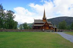 Medieval stavkirke in Lom. Landscape with medieval stavkirke in Lom, Norway Stock Images