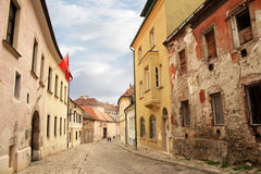 Medieval steet. Street in medieval town with ruins Stock Photos