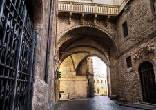 Medieval Stone Arch. Medieval Arch of St.Francis' Church, Rieti, Italy stock photos