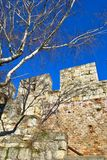 Medieval Stone and Brick Wall. Against clear, blue sky. Kalemegdan Park in Belgrade, Serbia Stock Image