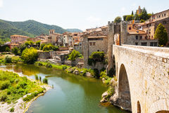 Medieval stone bridge over Fluvia river in Besalu Royalty Free Stock Images
