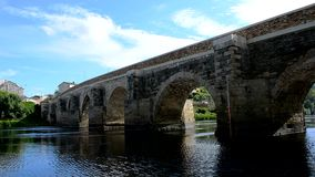 Medieval stone bridge over a river, Lugo, Spain stock video