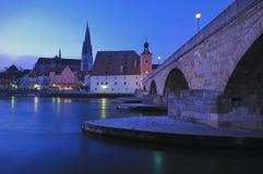 Medieval Stone Bridge, Regensburg Stock Photography