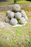 Medieval stone cannonballs of Vicopisano Castle Italy Stock Image