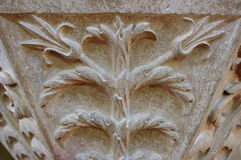 Medieval stone - carved motive. Close up of an old stone - carved motive in Transylvania, Romania stock photography