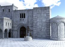 Free Medieval Stone Castle Courtyard Background Royalty Free Stock Image - 184327206