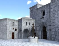 Free Medieval Stone Castle Courtyard Background Stock Image - 184328201