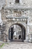 Medieval stone castle gate, illustration Stock Image