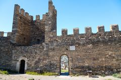 The medieval stone castle gate with tower. The old medieval stone castle gate with tower Royalty Free Stock Photo