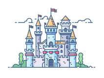 Medieval stone castle. With gate towers and flags. Vector illustration Stock Image