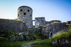 Medieval stone castle on the hill Stock Images