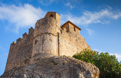 Medieval stone castle on the rock in Spain Stock Images