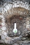 Medieval stone castle ruins cannon window Royalty Free Stock Photo