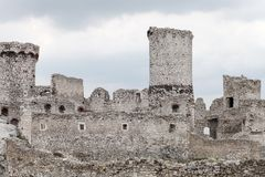 Medieval stone castle ruins, illustration Royalty Free Stock Photos