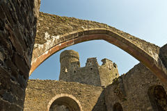 Medieval stone castle ruins seen from the inner ward Royalty Free Stock Image