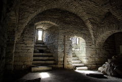Medieval stone cellar Stock Photos
