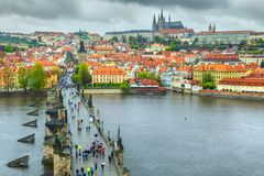 Medieval stone Charles bridge on the river, Prague, Czech Republic Royalty Free Stock Photo
