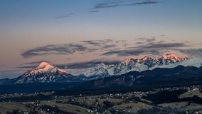 HDR Time lapse sunset view, High Tatra mountains. Slovakia from Zakopane, Poland. Ultra High Definition high dynamic range time lapse video of mountains covered stock footage