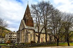 The medieval stone church with wooden roof Stock Photos