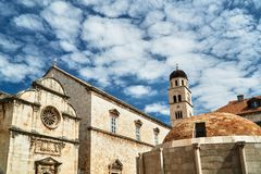 Medieval stone churches in the city of Dubrovnik Stock Photo