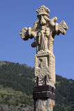 Medieval stone cross in Andorra Royalty Free Stock Photography