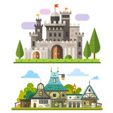 Medieval stone fortress. And old timber house landscapes. Sprites for game. Vector flat  illustrations Stock Images