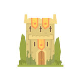 Medieval stone fortress tower, ancient architecture building vector Illustration. On a white background Stock Photo