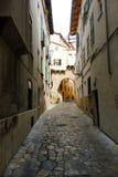 Medieval stone street in city Palma de Mallorca Royalty Free Stock Photo