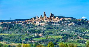 Medieval Stone Tower sAncient Buildings Town San Gimignano Tuscany Italy. stock images