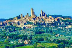 Medieval Stone Tower Ancient Buildings Town San Gimignano Tuscany Italy. royalty free stock images