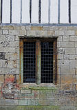 Medieval Stone Window, leaded lights Stock Photos