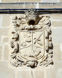 Medieval stony coat of arms in Cuzcurrita royalty free stock photos