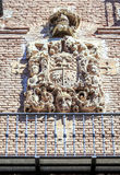 Medieval stony coat of arms in Navarrete Stock Image