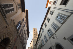 Medieval street in Arezzo (Tuscany, Italy) Royalty Free Stock Photo