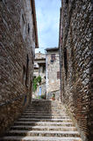 Medieval street in Assisi Stock Photos