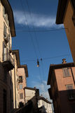 Medieval street in Bergamo, Lombardy, Italy. Royalty Free Stock Images